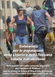padova,solidarietà,alluvione,solidarietà per le popolazioni alluvionate di liguria e toscana,alluvione genova,solidarietà per genova